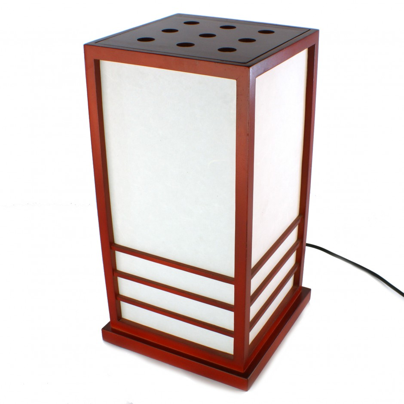 Grande lampe de table japonaise NIKKO rouge