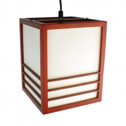 Lampe japonaise plafonier rouge KIKKO
