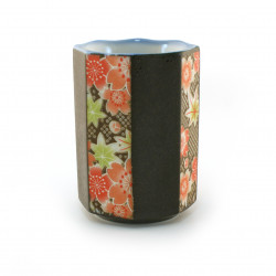tazza giapponese fiori ottagonali neri SAKURA