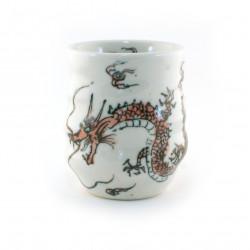 tasse blanche japonaise dragon rouge RYU AKA
