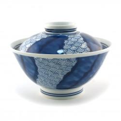Tazón de cerámica japonés con tapa, SEIGAIHA, azul y blanco