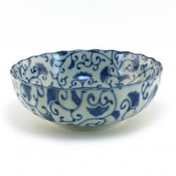 Japanese blue bowl ginkgo AISAI KIKUGATA