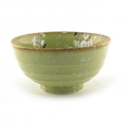 bol japonais vert matcha fleurs HIWA