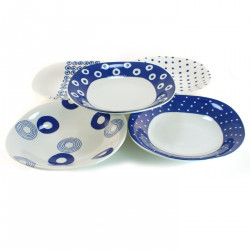 set of 5 plates indigo oval Japan 16M1613306
