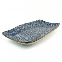 Japanese blue plate rectangular ceramic 183-5-52E
