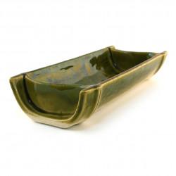 plat japonais bambou vert en céramique rectangulaire 18-21-37E