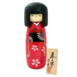 muñeca de madera japonesa - kokeshi, HARU NO YUME, fucsia
