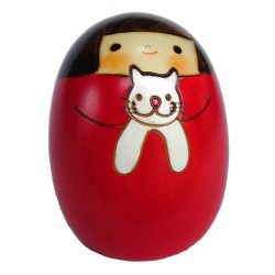 bambola di legno giapponese - kokeshi, NEKO NO SALLY, rosso