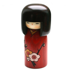 Japanese red kokeshi doll with flower poem pattern, HANA NO UTA