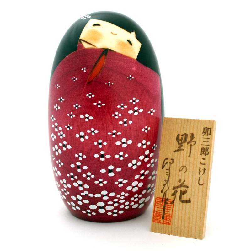 Poupée japonaise en bois Kokeshi Neko No No Hana
