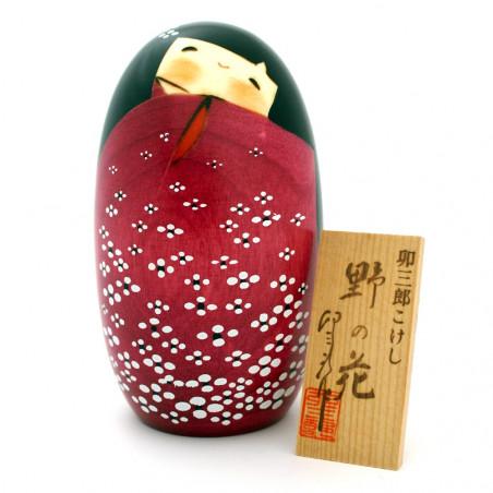 poupée en bois japonaise - kokeshi, HANA, rouge