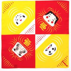 furoshiki japonais, DARUMA, jaune et rouge