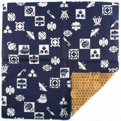 furoshiki japonais, TAKARADUKUSHI, bleu et marron