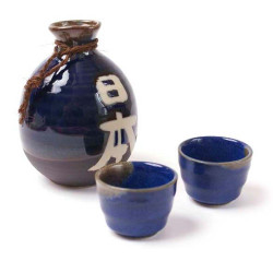 Japanese sake service with 2 glasses and 1 bottle, NIHON, blue