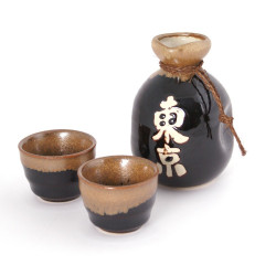 Japanese sake service with 2 glasses and 1 bottle, TÔKYÔ, black