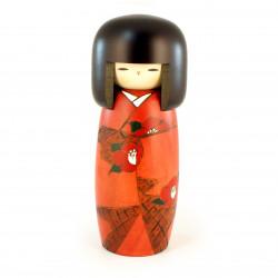 muñeca de madera japonesa - kokeshi, SOSHUN, naranja