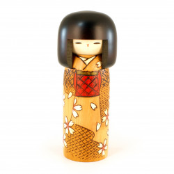 Japanese kokeshi doll with spring color pattern, HARU NO IRO