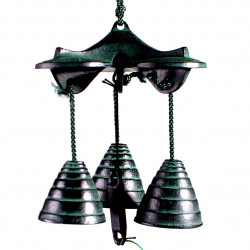 Trio of cast iron bells from Japan, SANJUSO, black