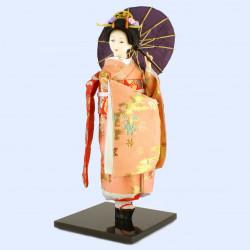 Japanese traditional Oyama doll pink kimono and flower pattern umbrella, KASA