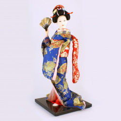 Japanese traditional Oyama doll blue and red kimono flower pattern, MAIOHGI