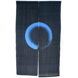 Blue Japanese curtain NOREN 100% linen handpainted MARU
