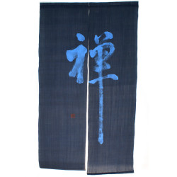 Blue Japanese curtain NOREN 100% linen handpainted ZEN