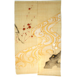 beige Japanese curtain NOREN 100% linen handpainted Plum