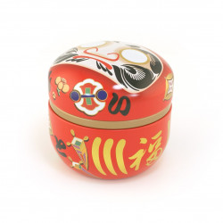 Japanese tea box made of metal, DARUMA, red