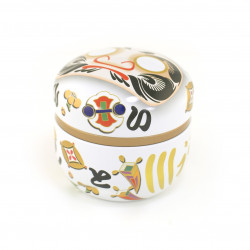 Japanese white metal tea caddy, DARUMA, 150g