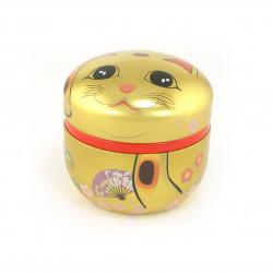 Boîte à thé japonaise dorée en métal, MANEKINEKO