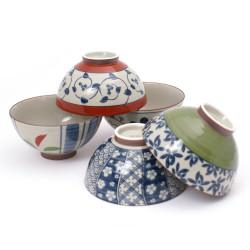 Set of 5 Japanese rice bowls, SUTORIPPU ARITA, multicolor