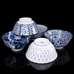 set of 5 japanese bowls Donburi DAYAMONDO, blue and white