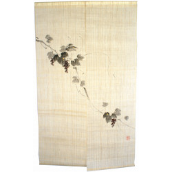 Japanese curtain NOREN 100% linen handpainted grapevine
