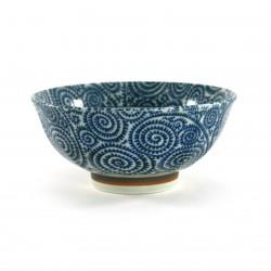 bol à riz japonais en céramique, TAKO KARAKUSA, bleu