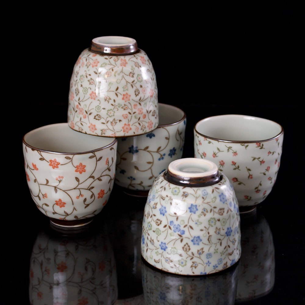 set de 5 tasses à café grises japonaises à the CMR80-1-96