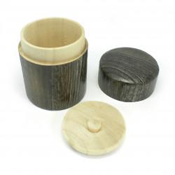 Scattola da tè giapponese in legno massello rotondo, HINOKI, rotondo