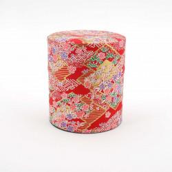 boîte à thé japonaise rouge - papier washi nami sakura