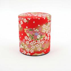 boîte à thé japonaise rouge - papier washi - sakura