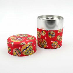 boîte à thé japonaise rouge - papier washi - ballons