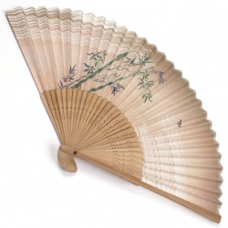 japanese fan - cotton and bamboo - brown