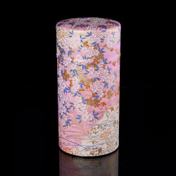 Japanese tea box made of washi paper, INAKA, pink and yellow