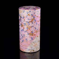 Scatola da tè giapponese in carta washi, CHAMP, rosa e giallo