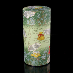 Japanese tea box made of washi paper, MATSU, green