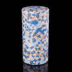 Caja de té japonesa de papel washi, FLEURS, azul