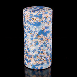 Scatola da tè giapponese in carta washi, FLEURS, blu