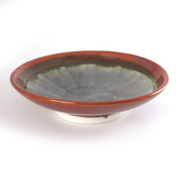 japanese round plate, SURIBACHI, red