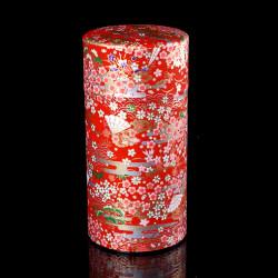 Caja de té japonesa de papel washi, EVENTAILS, roja