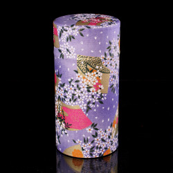 Japanese tea box made of washi paper, HANA, purple