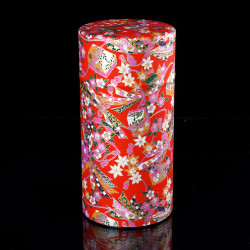 Japanese tea box made of washi paper, RIBBON, red