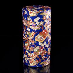 Caja de té japonesa de papel washi, NOEUDS, azul